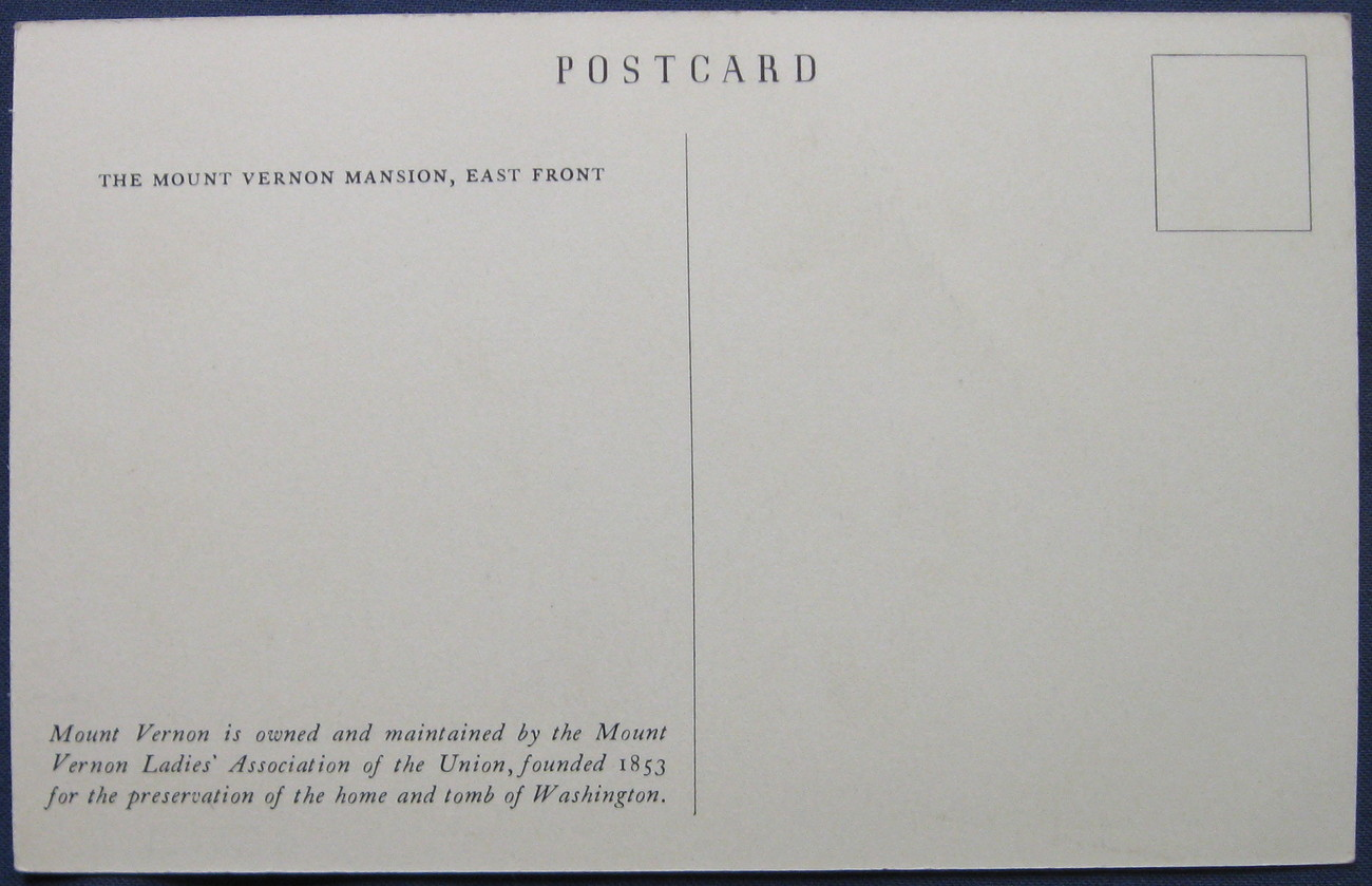 White border, Black and white Postcard, Mt. Vernon, 1938