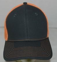 Port Authority C112 Snapback Trucker Cap Grey Steel Neon Orange image 2