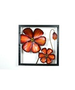 Metal Engraved 3 D Red Flower Art Home Decor Wall Hanging Art In Metal Frame - $169.69