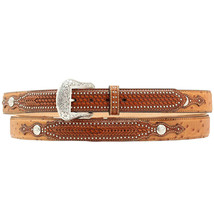"U-8-36 36"" Nocona Leather Mens Ostrich Print Weave Belt Tan - $52.95"