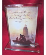 Heavy Glass Inspirational Plaque with Bible Verse Phil. 4:13 Home Decor - $17.99