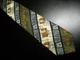 Structure Dress Neck Tie Diagonal Stripes of Windows Shuttered Open Folding Silk - $10.99