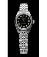 Black diamond dial rolex date just SS jubilee b... - $3,297.00