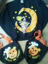Halloween Ladies Sweatshirt Size M Black Moon Witch 2 Cloth Trick or Tre... - $19.59