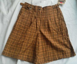 Ladies Francique Yellow Beige Shorts Size L Light weight Gold Plaid pockets NEW - $11.73
