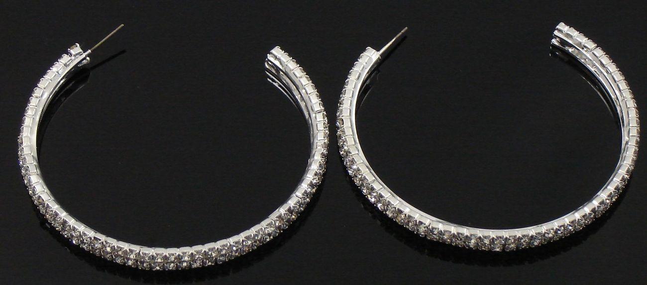 Gorgeous Austrian Crystal 2 Row C Shape Large Hoop  Earrings