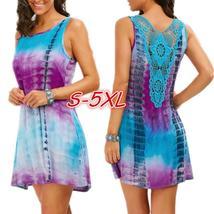 Women's Fashion Sleeveless O-neck Tie Dye Tank Top Dress Lace Patchwork Multicol