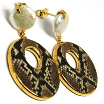 Silver Earrings 925, Hanging, Pearls Baroque Style Flat, Ovals Effect Snake image 2