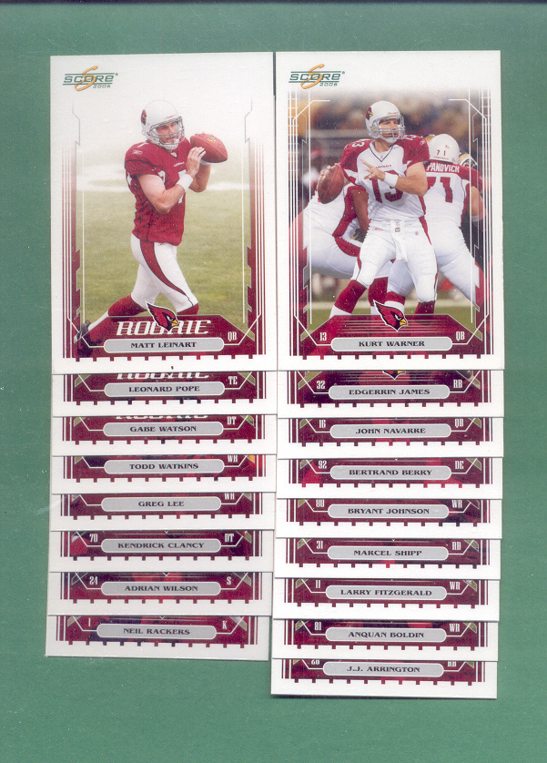 2006 Score Arizona Cardinals Football Team Set