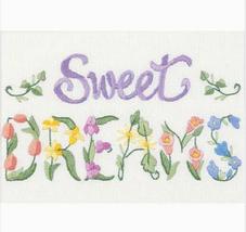 Dimensions Flowery Sweet Dreams mini Crewel Kit, 7x5in, flowers, words - $11.99