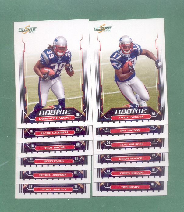 2006 Score New England Patriots Football Team Set