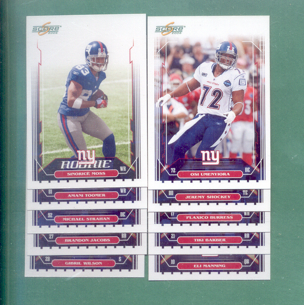 2006 Score New York Giants Football Team Set