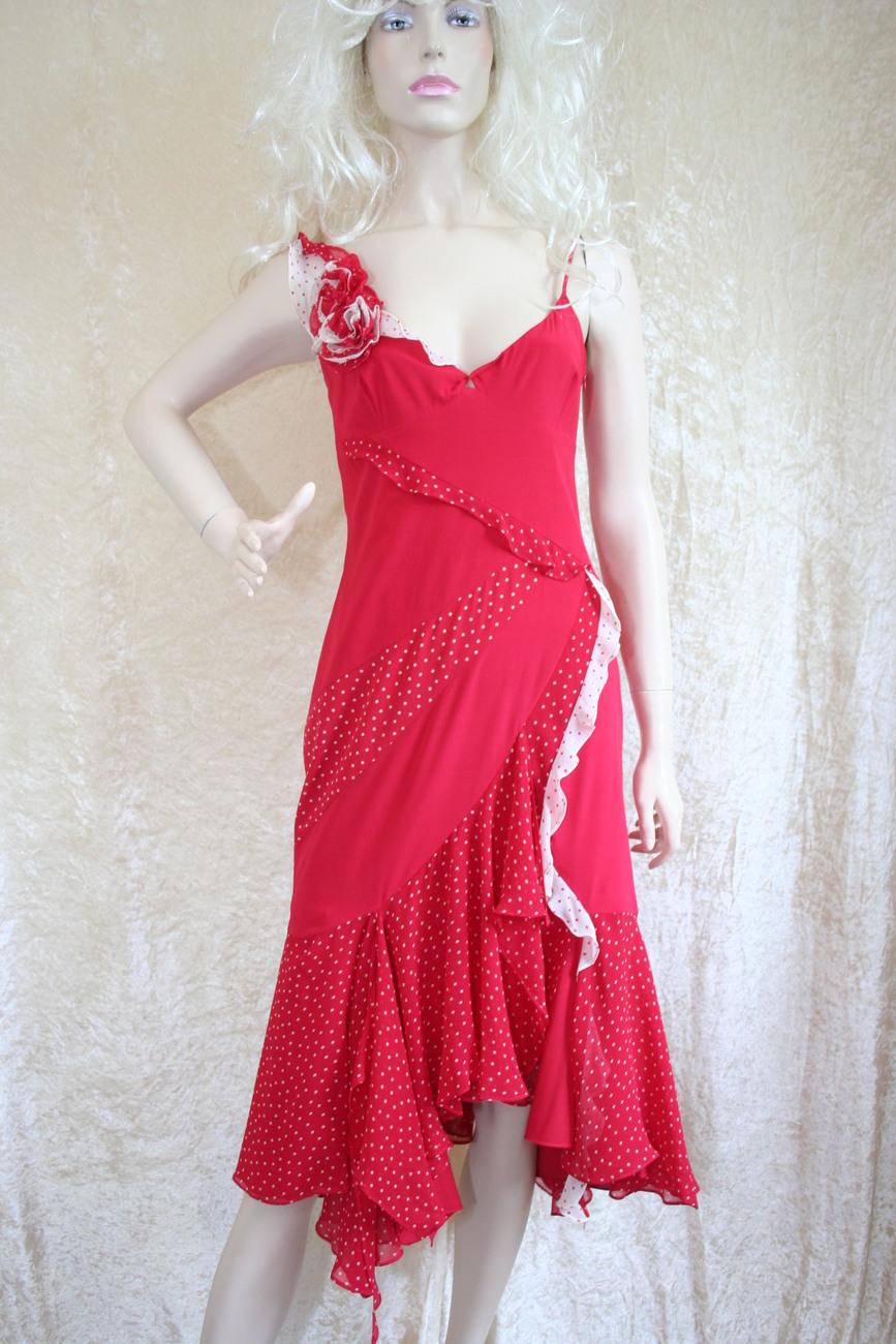 NEW KAREN MILLEN RED WHITE DRESS SIZE 14