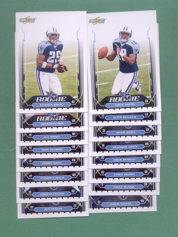 2006 Score Tennessee Titans Football Set