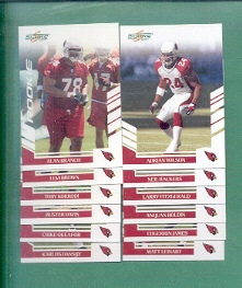 2007 Score Arizona Cardinals Football Team Set