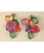Clear Plastic Colored Heart Cluster Pierced Earrings with Studs - $9.50