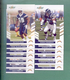 2007 Score San Diego Chargers Football Team Set