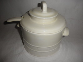 ceramic Soup Tureen with Ladle and lid beige very nice - $24.70