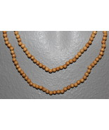 "WOODEN BEADS  36"" NECKLACE 4 MM NATURAL TONE ROUND BEADS CRAFT BEADS - $3.59"