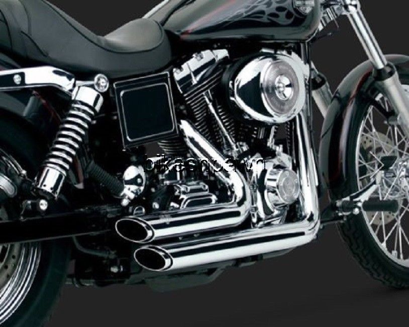 New Vance & Hines Shortshots Staggered Chrome 1991-2005 FXD Dyna Harley