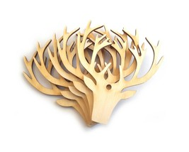 Wooden Stag Head Craft Shapes, Hanging Decorations - Pack of 5 - $5.42