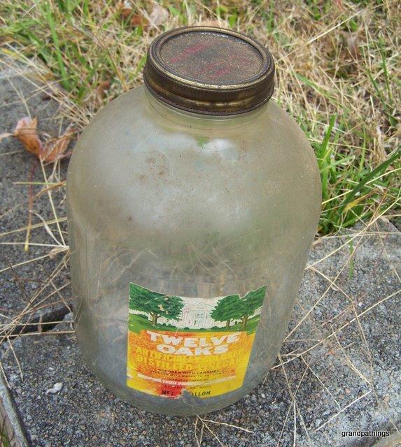 antique twelve oaks vinegar gallon jar