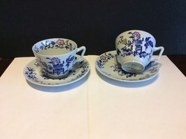 Copeland Spode New Stone Bowpot Blue Multicolor Tea Cup And Saucer Lot Of 2 - $30.00