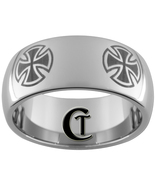 10mm Tungsten Carbide Dome 4-Chopper Crosses Design Ring Sizes 4-17 - $49.00