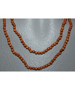 "WOODEN BEADS  36"" NECKLACE 4 MM BROWN TONE ROUND BEADS CRAFT BEADS - $3.59"