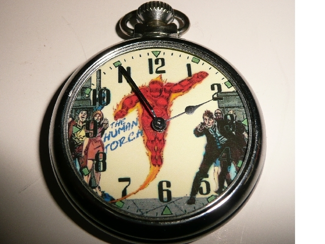 Old Human Torch Character Dial pocket Watch
