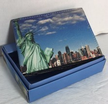 NEW MEN WALLET HAND CRAFTED LADY LIBERTY  BI-FOLD  PRINTED WALLET IN GIF... - $11.87