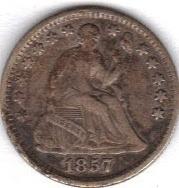 Nice 1857 half Dime in V.F.30.