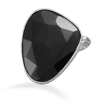 Sterling Silver Ring with Freeform Black Onyx - $46.95