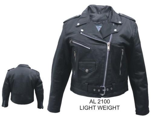 Womens Ladies Lambskin Leather Motorcycle Biker Jacket Allstate Leather
