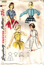 1953 Blouse & Blouse Slip Pattern 4419-s Girl Size 8 - Complete - $9.99