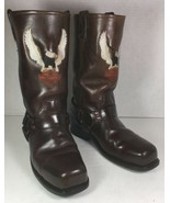 Harley Davidson Brown Leather Screaming Eagle Harness Boots Men's US M 9.5 - $151.31