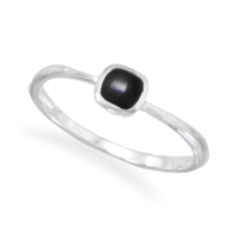 Silver Ring with Inlay Square Black Onyx - $19.99