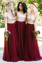 Burgundy Long Tulle Skirt High Waisted Wedding Skirt Burgundy Tulle Maxi Skirt image 7