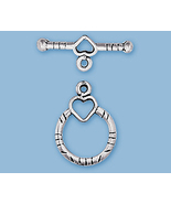 (1) NEW STERLING SILVER HEART AND RING TOGGLES - $9.29