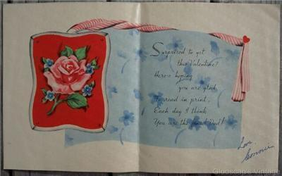 Old 1940-50's Valentines Day for Dad Greeting Card