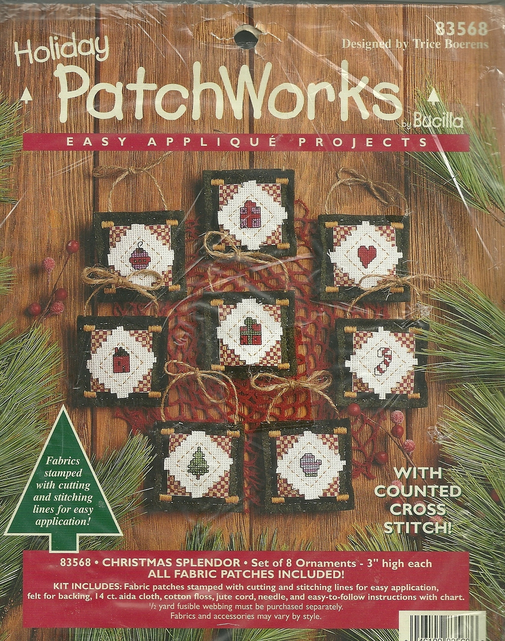 "HOLIDAY PATCHWORKS KIT / TO MAKE 8 ORNAMENTS 3"" / NEW"