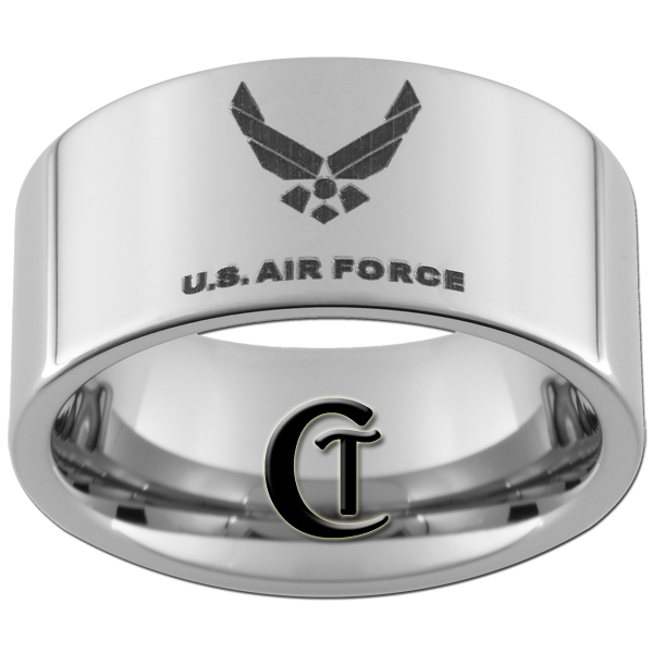 Primary image for 10mm Pipe Tungsten Carbide Air Force Design Ring Sizes 4-17