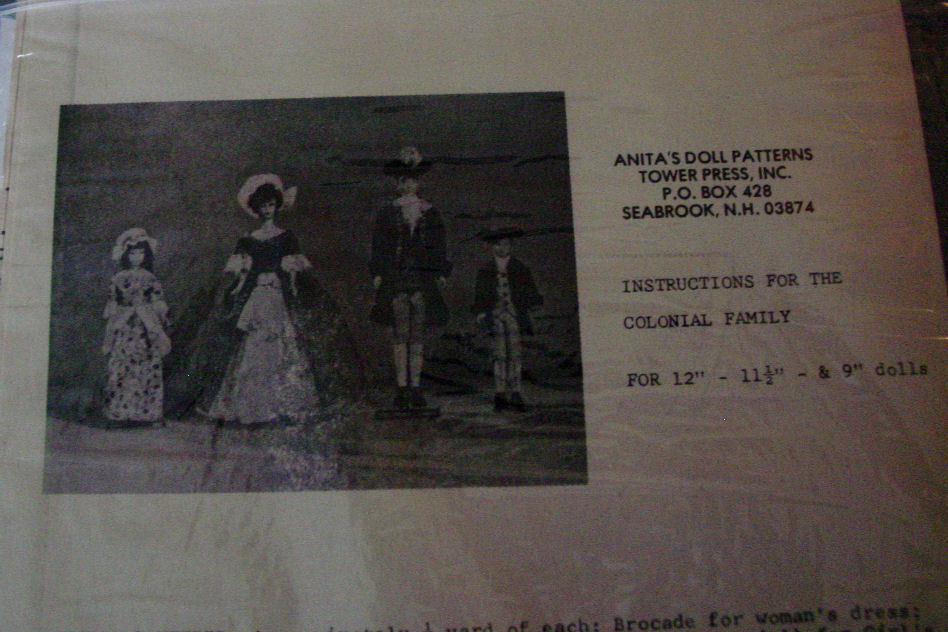 """Pattern Colonial Family Clothing for 9"""",11.5"""", 12"""" dolls"""