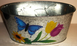 Oval Galvanized Tin Blue Butterfly Planter - $5.00
