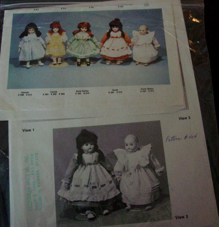"Pattern Dress and Pinafore for 16-17"" Dolls, 15.5"" waist doll clothes"