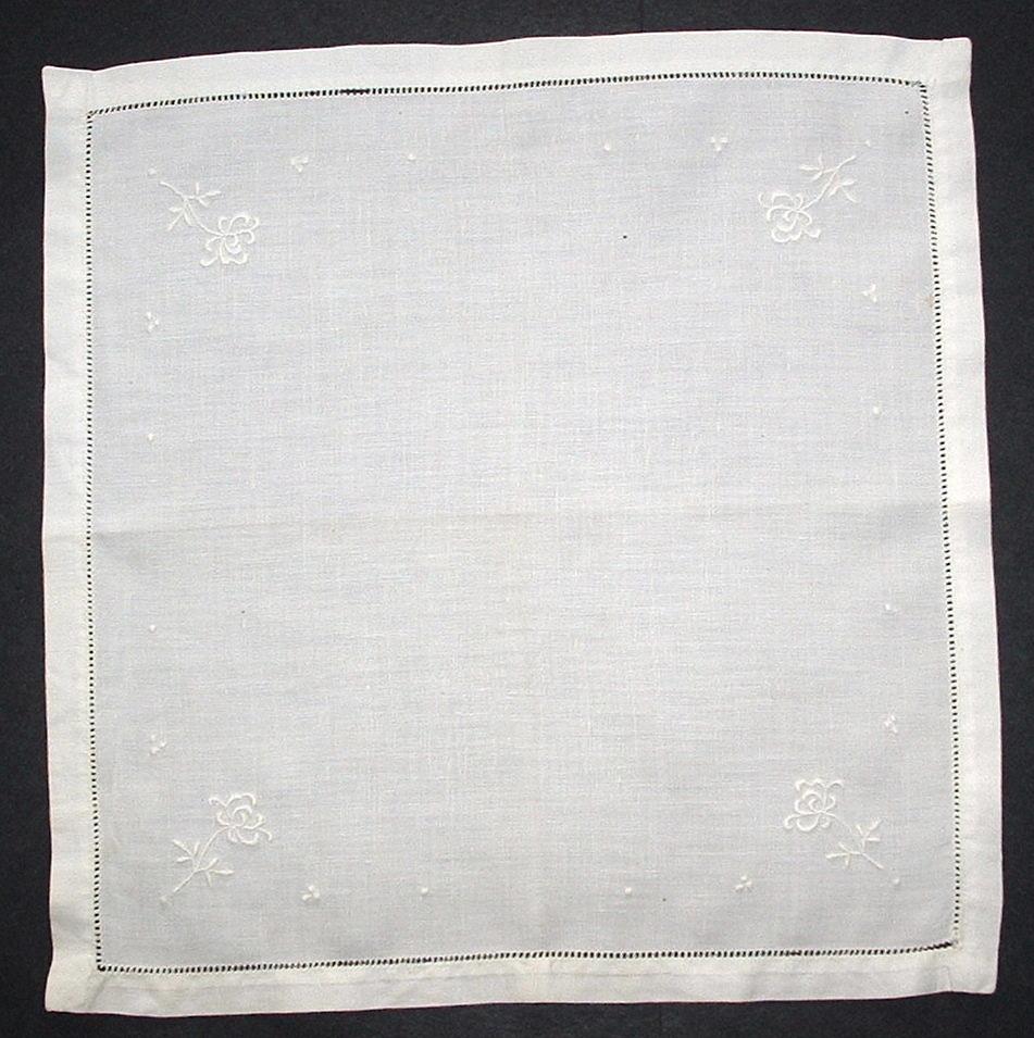 Handkerchief Antique English Fine Linen Embroidered White 1920s Wedding