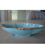 Vintage Sky Blue Ceramic Bowl Dish, 22K Gold Trim, USA - $5.99
