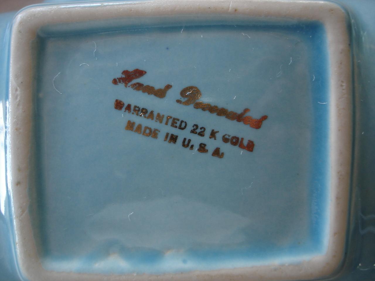 Vintage Sky Blue Ceramic Bowl Dish, 22K Gold Trim, USA