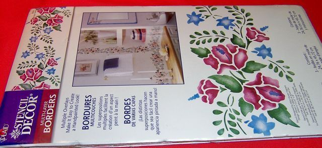 Plaid Wall Stencil Overlays Floral Spray 26652