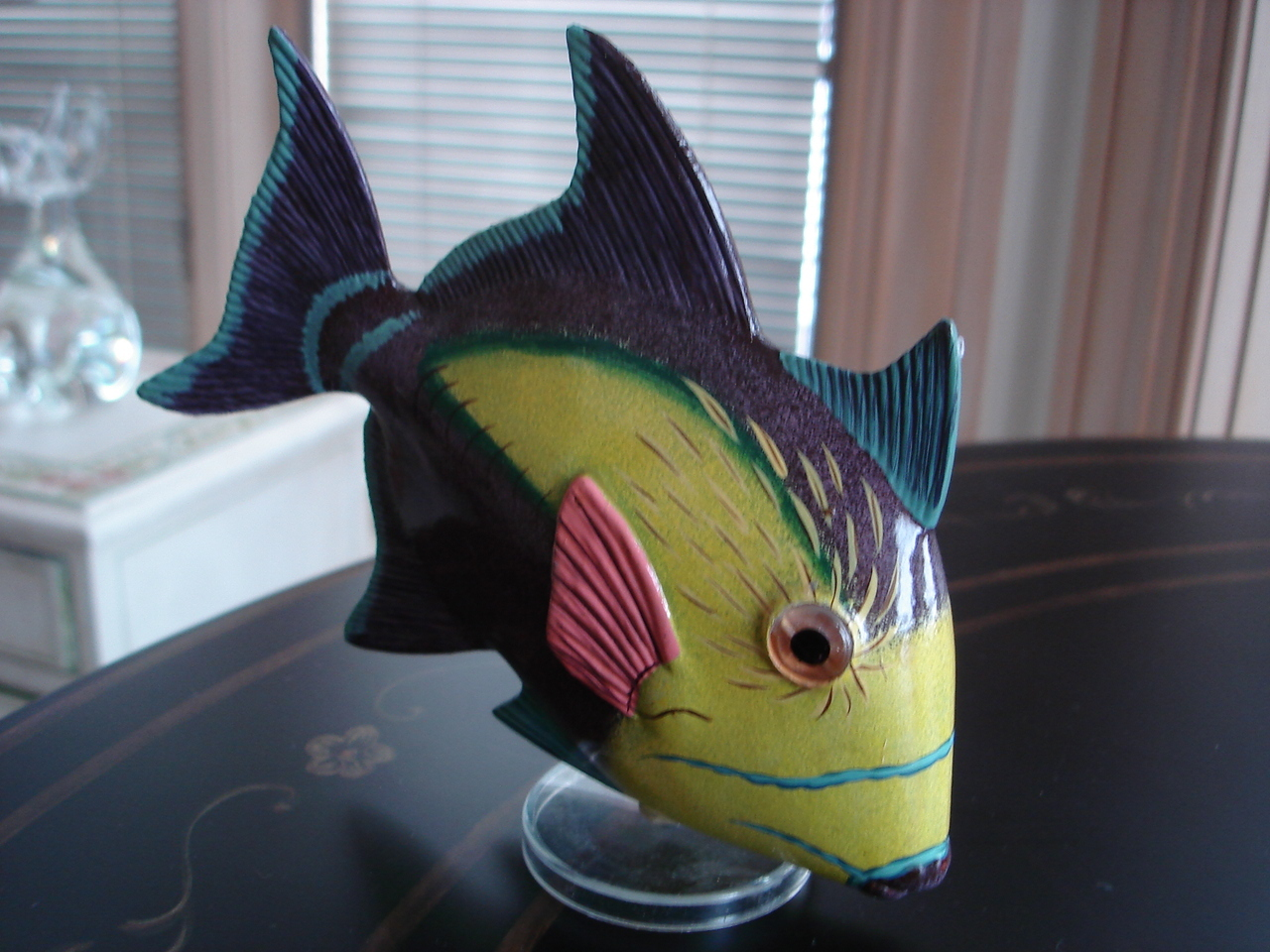 Collectible Tropical Fish Figurine, Puffy Plastic, Stand